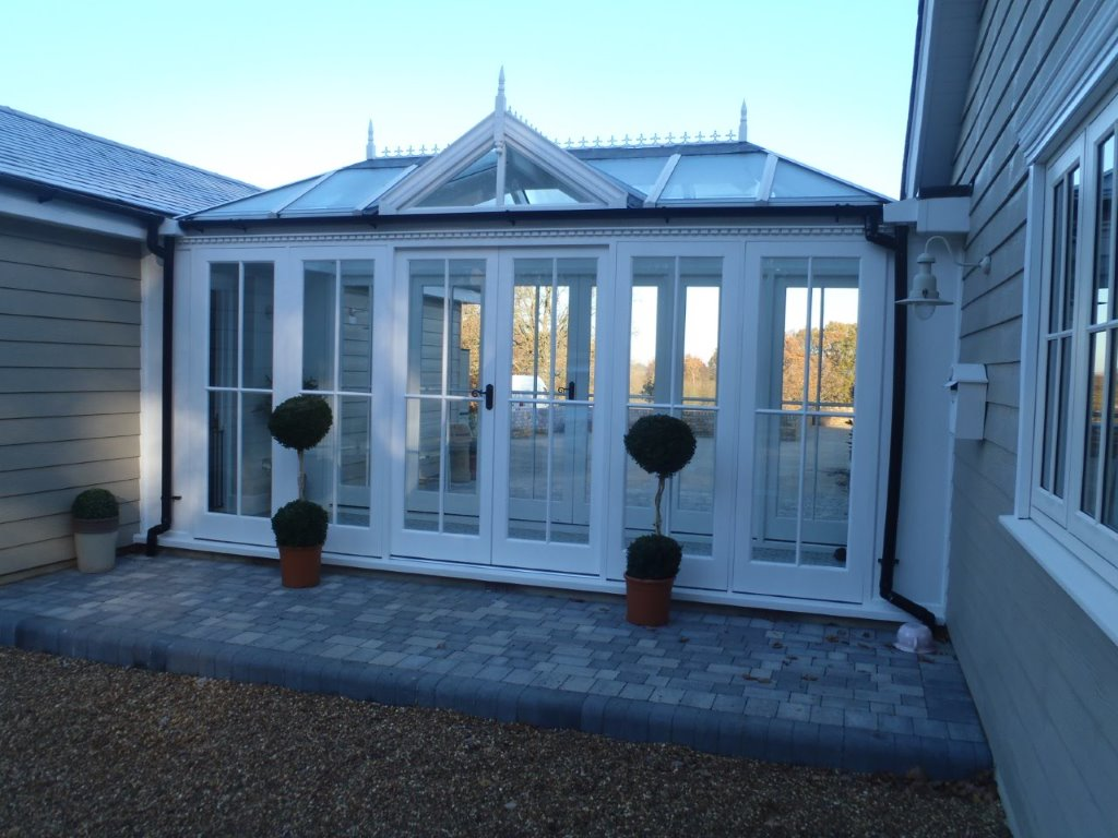 External View of White Conservatory built by Trustwood in Essex.